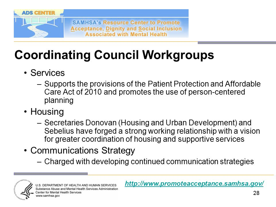 28 Coordinating Council Workgroups Services –Supports the provisions of the Patient Protection and Affordable Care Act of 2010 and promotes the use of person-centered planning Housing –Secretaries Donovan (Housing and Urban Development) and Sebelius have forged a strong working relationship with a vision for greater coordination of housing and supportive services Communications Strategy –Charged with developing continued communication strategies http://www.promoteacceptance.samhsa.gov/