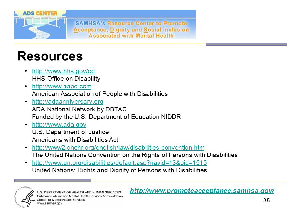 35 Resources http://www.hhs.gov/od HHS Office on Disability http://www.aapd.com American Association of People with Disabilities http://adaanniversary.org ADA National Network by DBTAC Funded by the U.S.