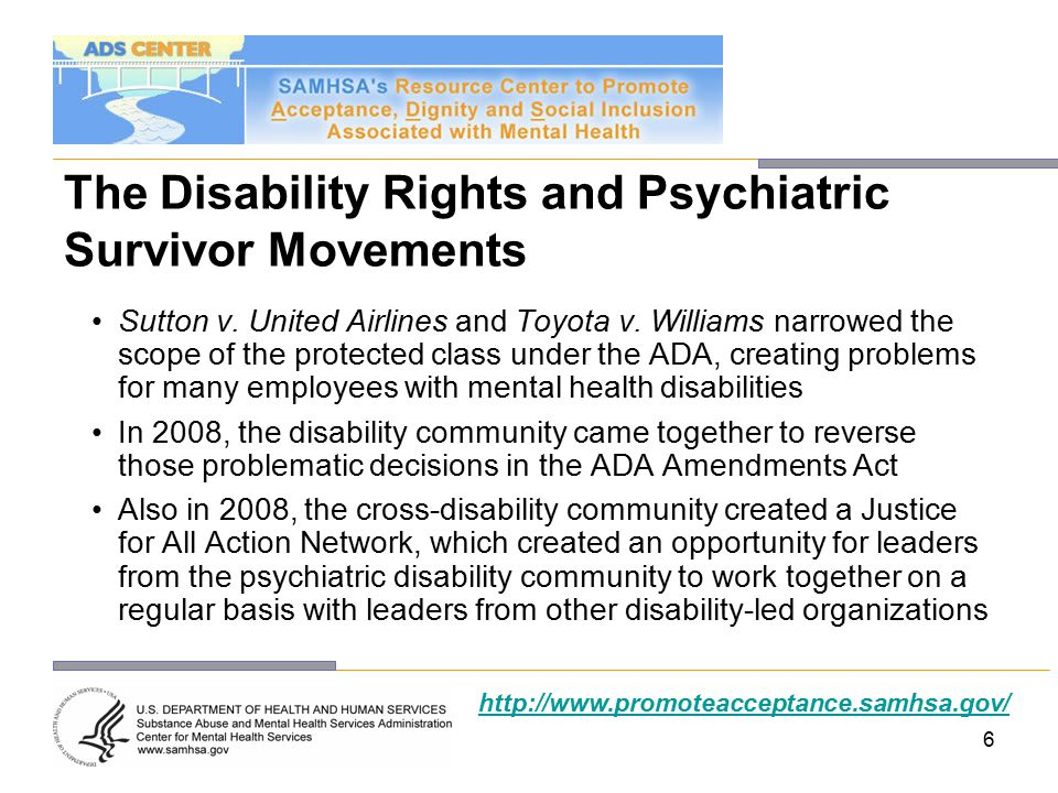 27 Coordinating Council Led by the Office on Disability in partnership with the following agencies: –Administration on Children and Families –Administration on Aging –Centers for Medicare and Medicaid Services –Health Resources and Services Administration –Substance Abuse & Mental Health Services Administration –Office of Civil Rights –Office of the Assistant Secretary for Planning and Evaluation http://www.promoteacceptance.samhsa.gov/