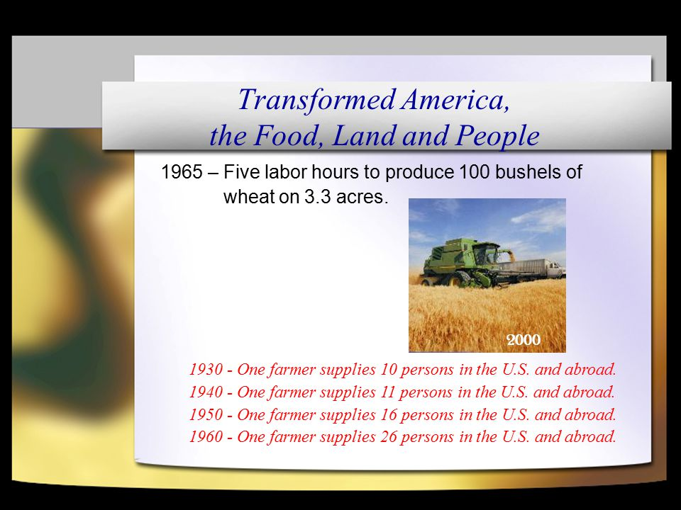 1965 – Five labor hours to produce 100 bushels of wheat on 3.3 acres.