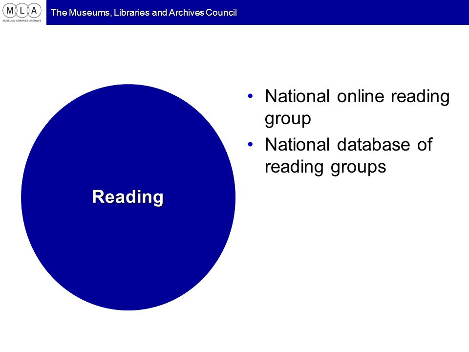 The Museums, Libraries and Archives Council National online reading group National database of reading groups Reading