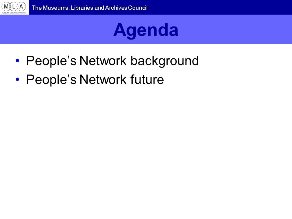 Agenda People's Network background People's Network future