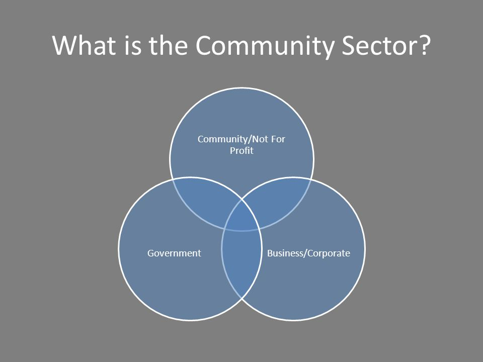 What is the Community Sector? Community/Not For Profit Business/CorporateGovernment