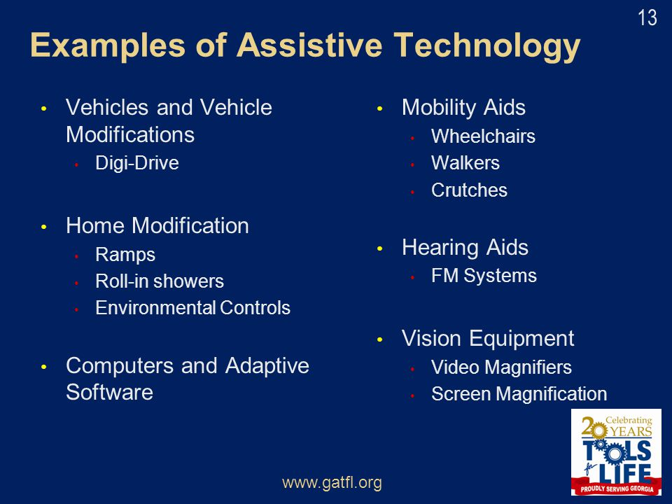Examples of Assistive Technology Vehicles and Vehicle Modifications Digi-Drive Home Modification Ramps Roll-in showers Environmental Controls Computer