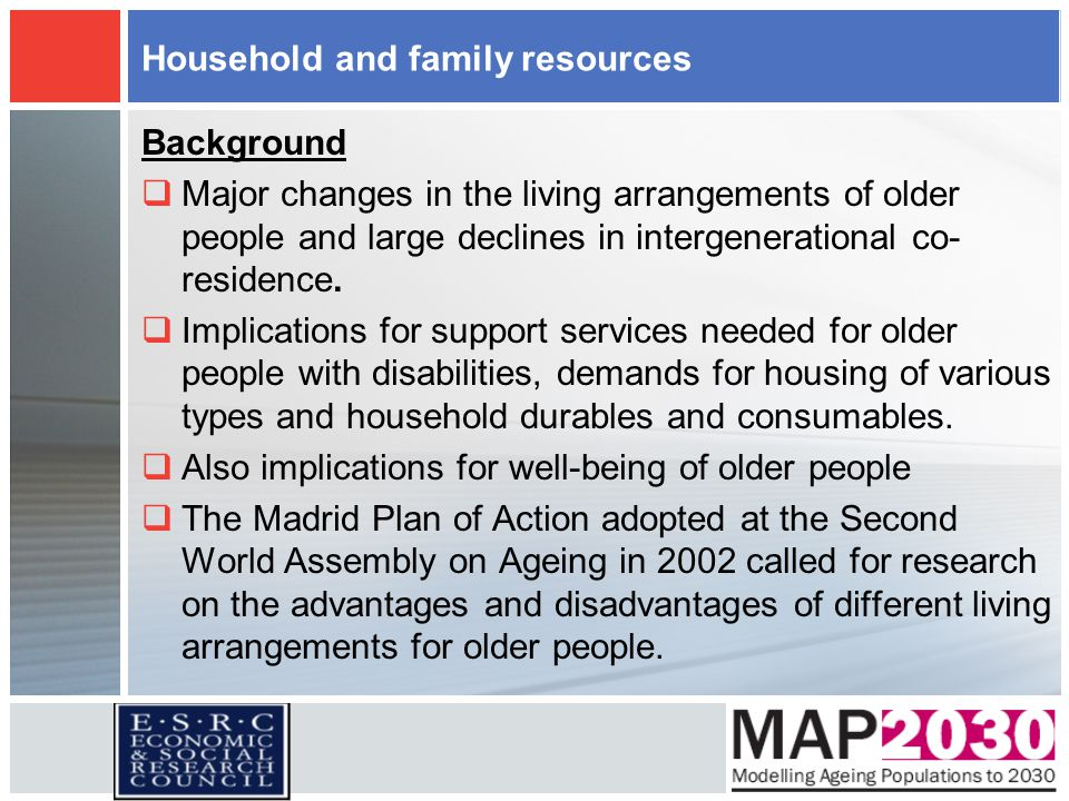 Household and family resources Background  Major changes in the living arrangements of older people and large declines in intergenerational co- resid