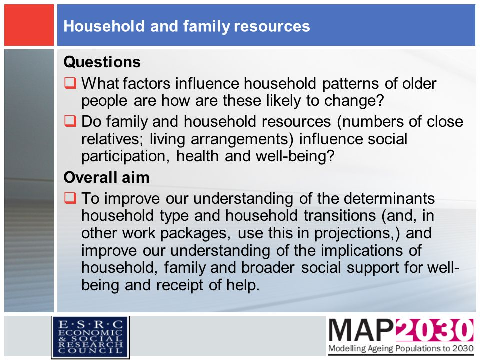 Household and family resources Questions  What factors influence household patterns of older people are how are these likely to change?  Do family a