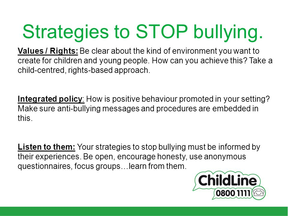 Strategies to STOP bullying.