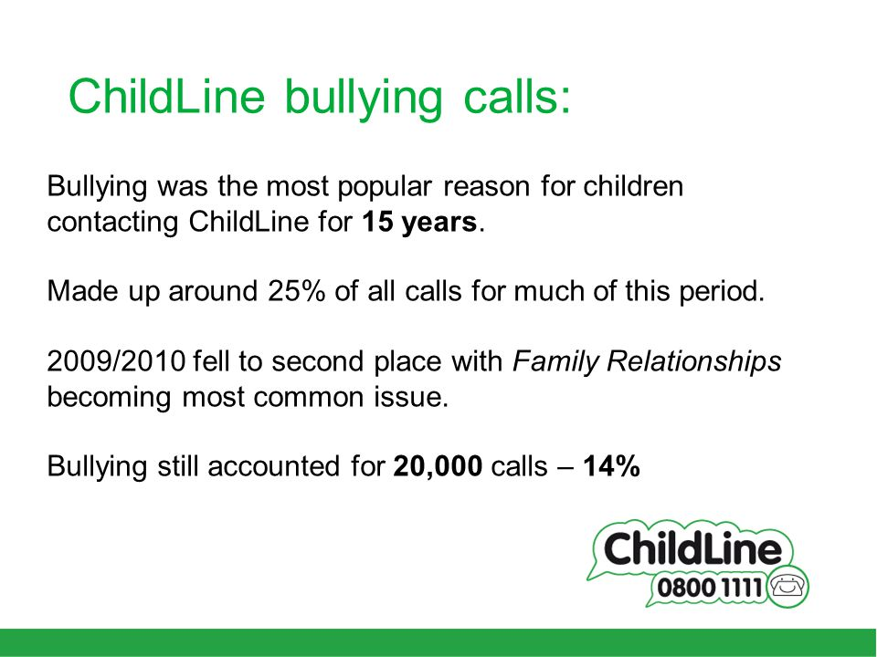 ChildLine bullying calls: Bullying was the most popular reason for children contacting ChildLine for 15 years.