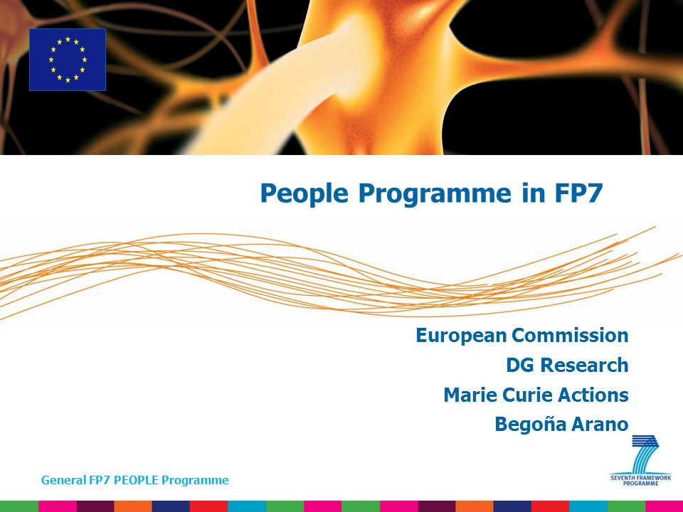 General FP7 PEOPLE Programme + Ideas – Frontier Research Capacities – Research Capacity People – Marie Curie Actions Cooperation – Collaborative research JRC (non-nuclear) JRC (nuclear) Euratom People Programme in FP7