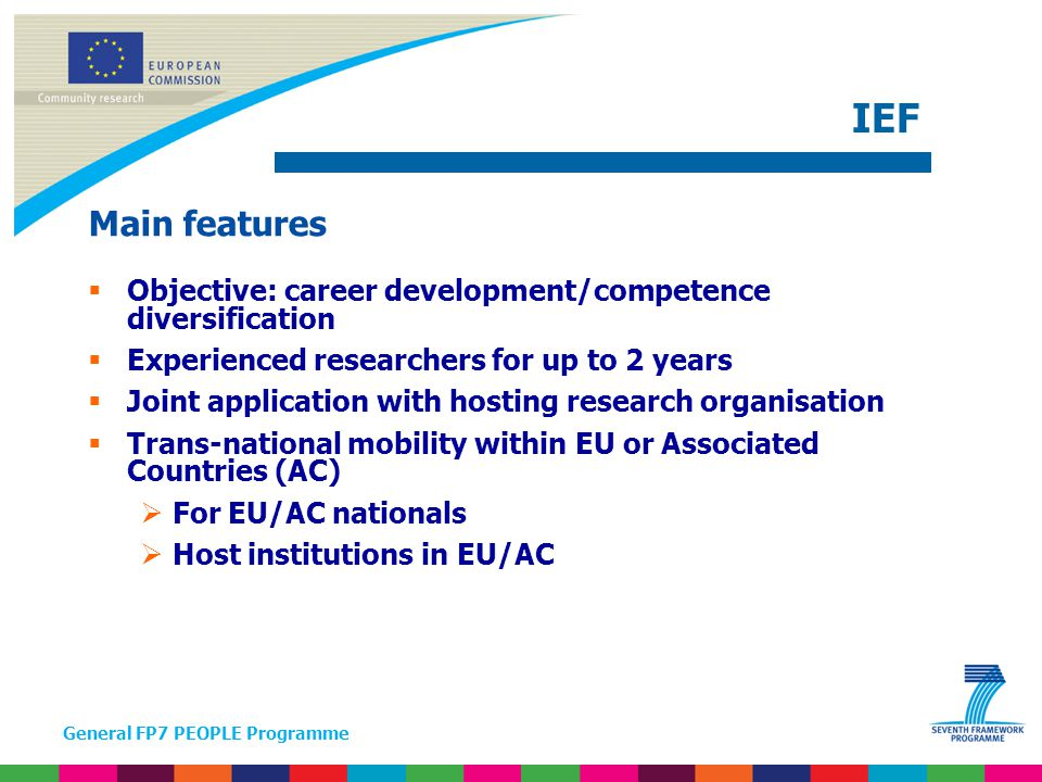 General FP7 PEOPLE Programme Main features  To built on previous trans-national mobility  To promote perspectives of research career development  (Re)integration in a MS or AC, incl.