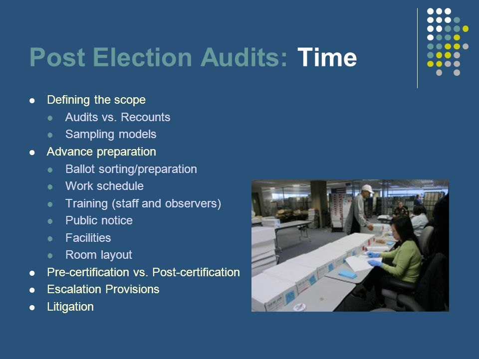 Post Election Audits: Time Defining the scope Audits vs.