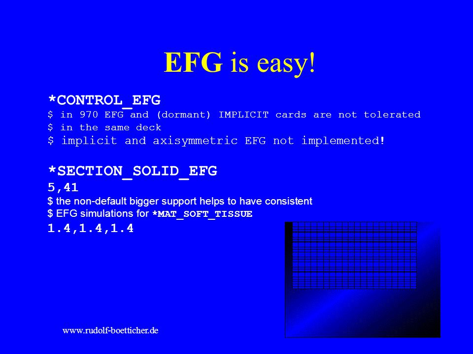 Birmingham, 25.05.2005www.rudolf-boetticher.de EFG is easy! *CONTROL_EFG $ in 970 EFG and (dormant) IMPLICIT cards are not tolerated $ in the same dec