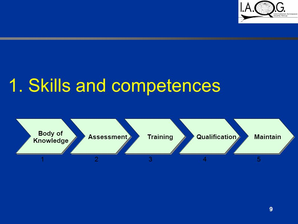 9 Body of Knowledge AssessmentTrainingQualificationMaintain 12345 Body of Knowledge AssessmentTrainingQualificationMaintain 12345 1.