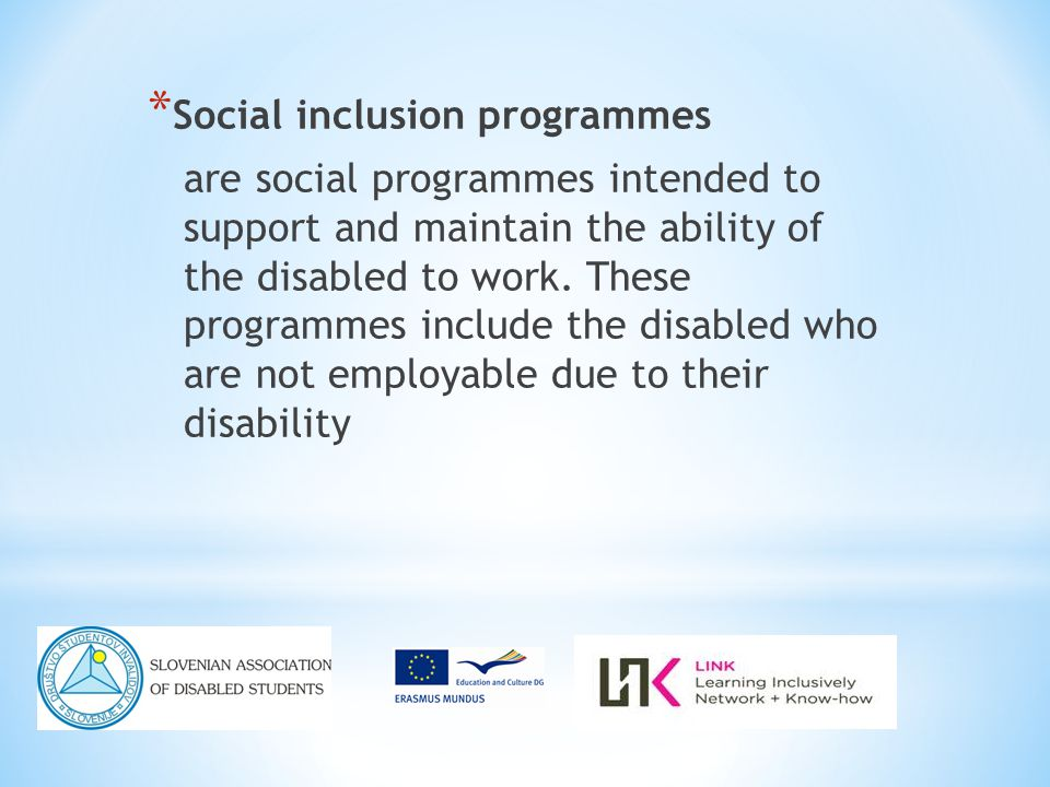 * Social inclusion programmes are social programmes intended to support and maintain the ability of the disabled to work.
