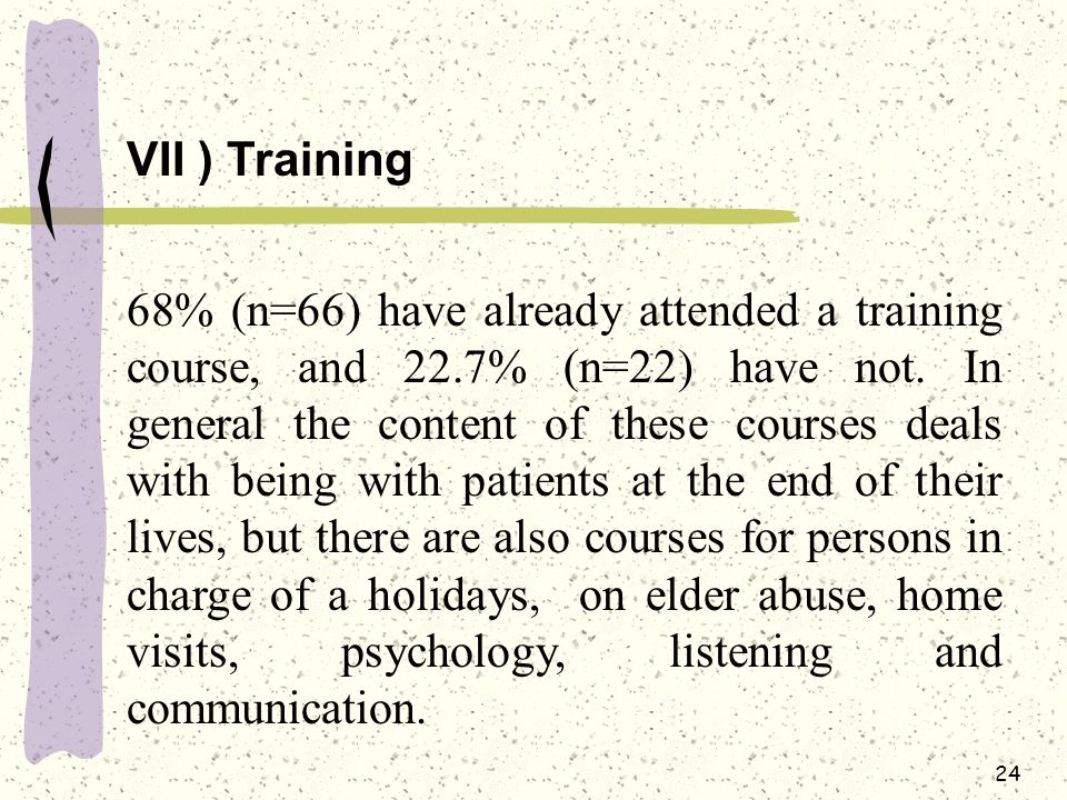 24 VII ) Training 68% (n=66) have already attended a training course, and 22.7% (n=22) have not.
