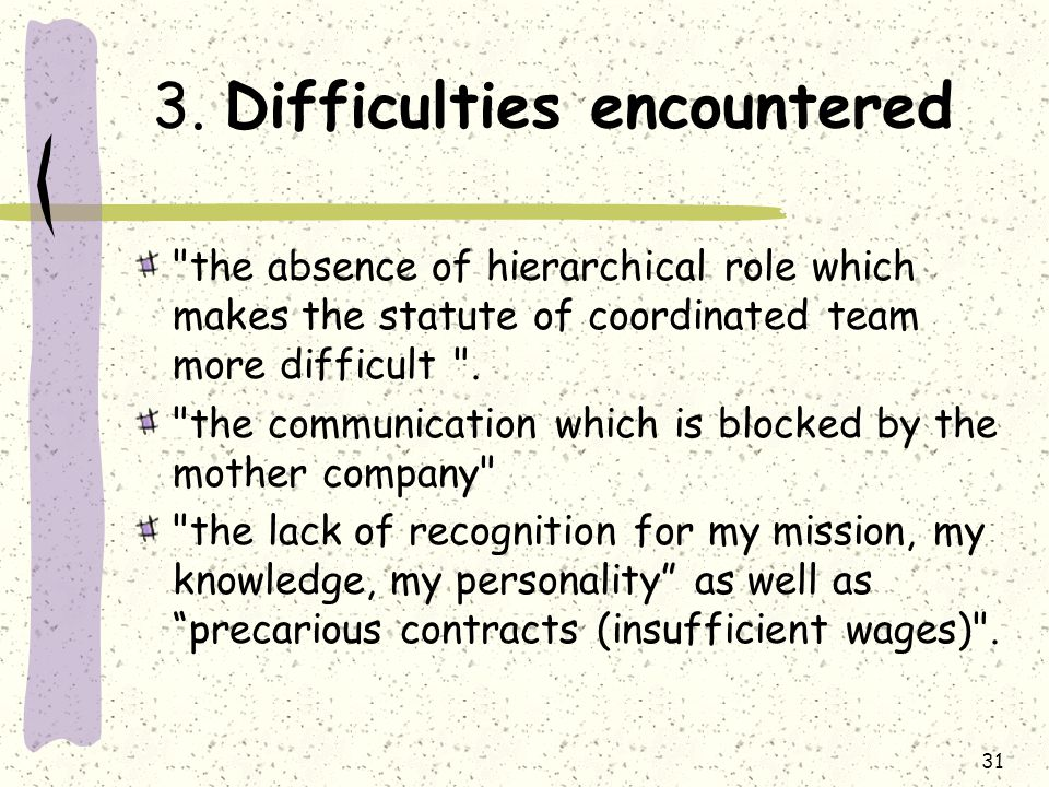 31 3. Difficulties encountered