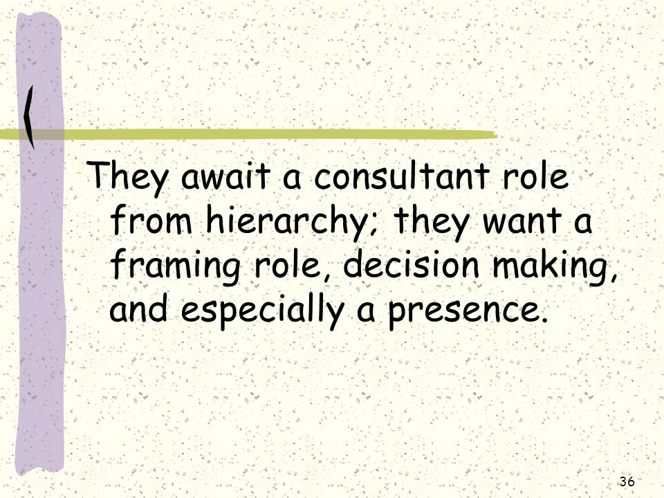 36 They await a consultant role from hierarchy; they want a framing role, decision making, and especially a presence.