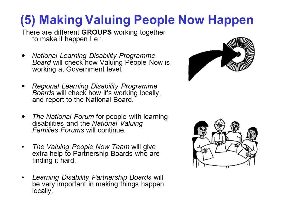 (5) Making Valuing People Now Happen There are different GROUPS working together to make it happen I.e.:  National Learning Disability Programme Board will check how Valuing People Now is working at Government level.