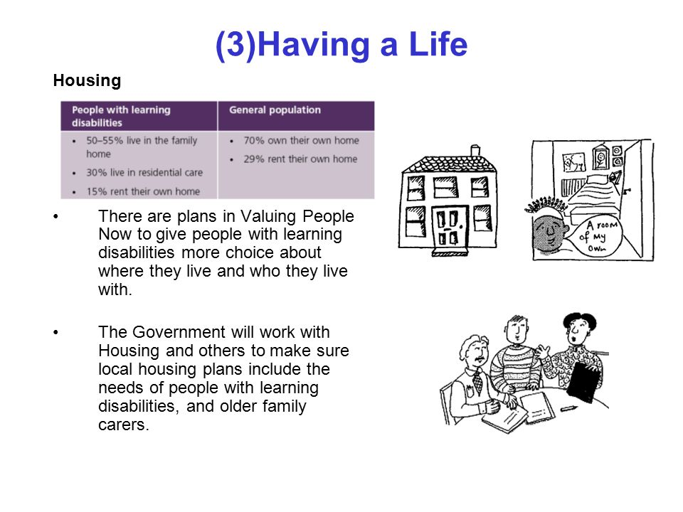 (3)Having a Life Housing There are plans in Valuing People Now to give people with learning disabilities more choice about where they live and who they live with.