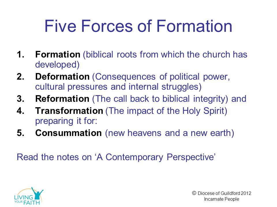 © Diocese of Guildford 2012 Incarnate People Five Forces of Formation 1.Formation (biblical roots from which the church has developed) 2.Deformation (