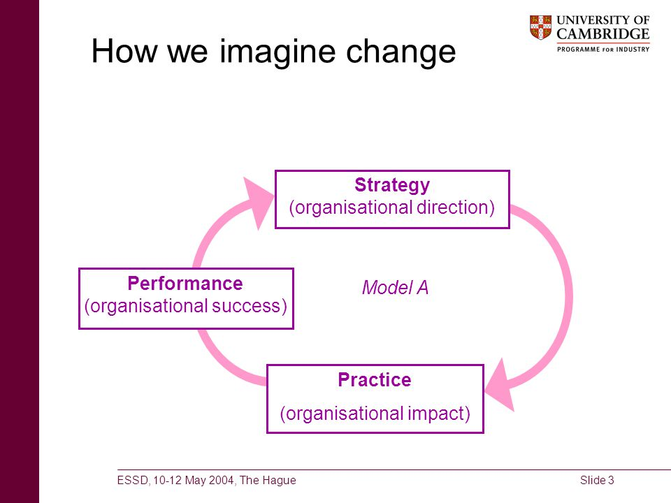 ESSD, 10-12 May 2004, The HagueSlide 3 How we imagine change Strategy (organisational direction) Practice (organisational impact) Performance (organis