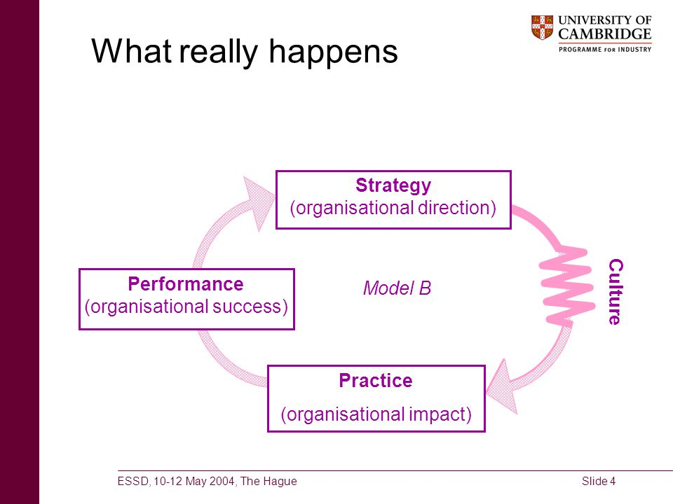 ESSD, 10-12 May 2004, The HagueSlide 4 What really happens Strategy (organisational direction) Model B Performance (organisational success) Practice (