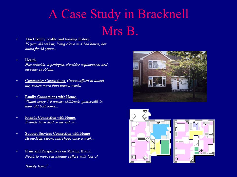 A Case Study in Bracknell Mrs B. Brief family profile and housing history.