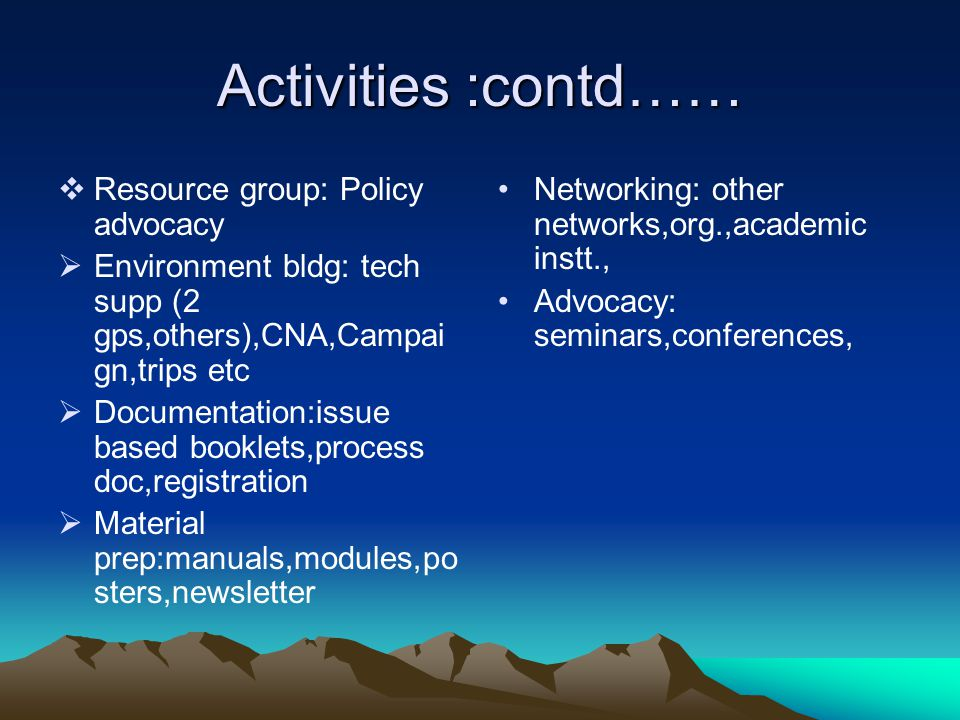 Activities :contd……  Resource group: Policy advocacy  Environment bldg: tech supp (2 gps,others),CNA,Campai gn,trips etc  Documentation:issue based booklets,process doc,registration  Material prep:manuals,modules,po sters,newsletter Networking: other networks,org.,academic instt., Advocacy: seminars,conferences,