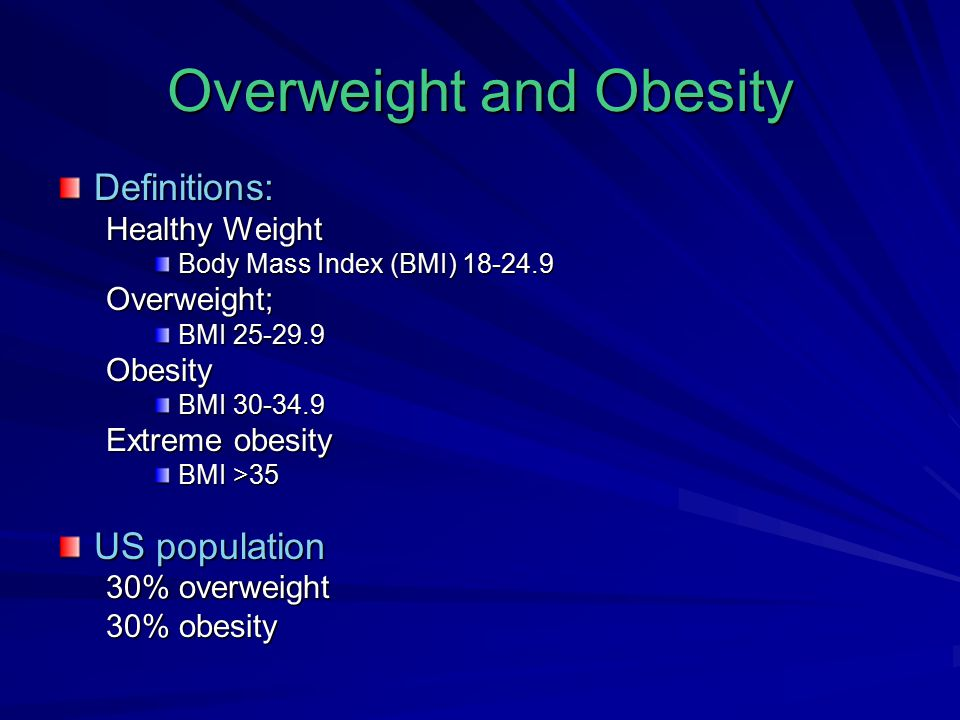 Definitions: Healthy Weight Body Mass Index (BMI) 18-24.9 Overweight; BMI 25-29.9 Obesity BMI 30-34.9 Extreme obesity BMI >35 US population 30% overweight 30% obesity
