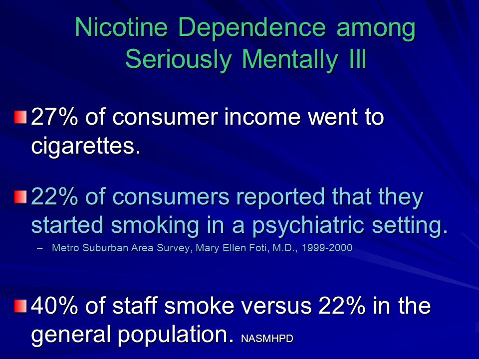 Nicotine Dependence among Seriously Mentally Ill 27% of consumer income went to cigarettes.