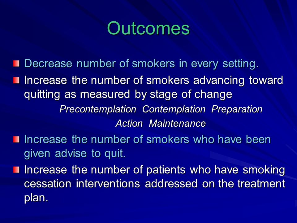 Outcomes Decrease number of smokers in every setting.
