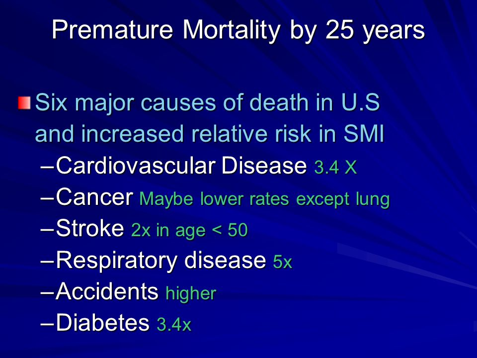 Premature Mortality by 25 years Six major causes of death in U.S and increased relative risk in SMI –Cardiovascular Disease 3.4 X –Cancer Maybe lower rates except lung –Stroke 2x in age < 50 –Respiratory disease 5x –Accidents higher –Diabetes 3.4x