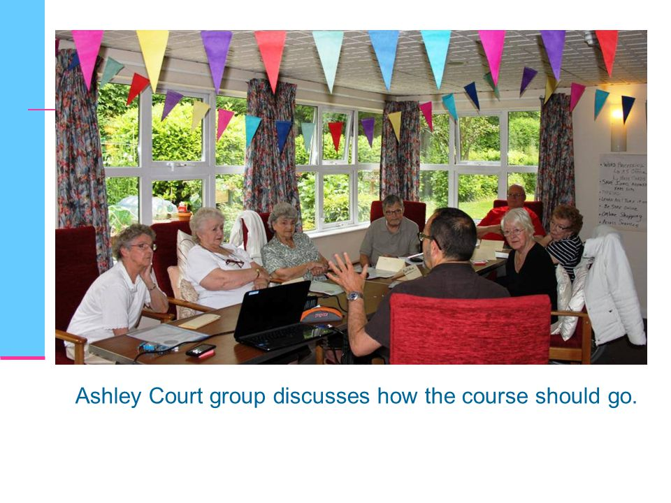 Ashley Court group discusses how the course should go.