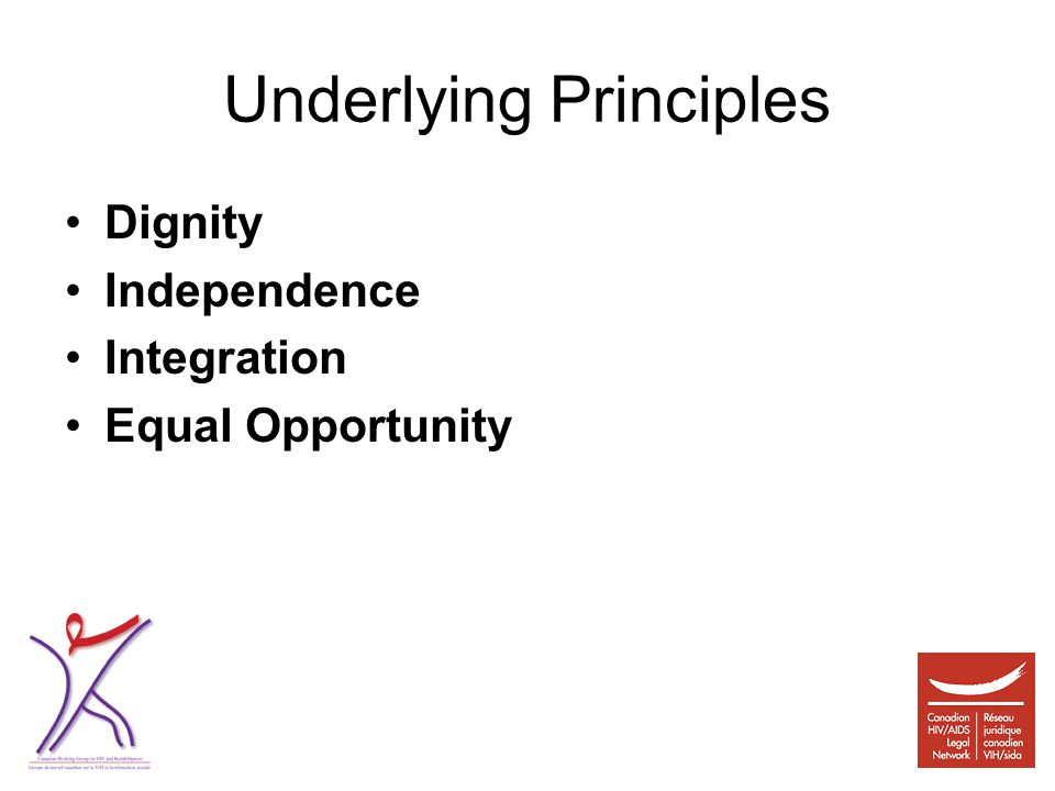 Underlying Principles Dignity Independence Integration Equal Opportunity