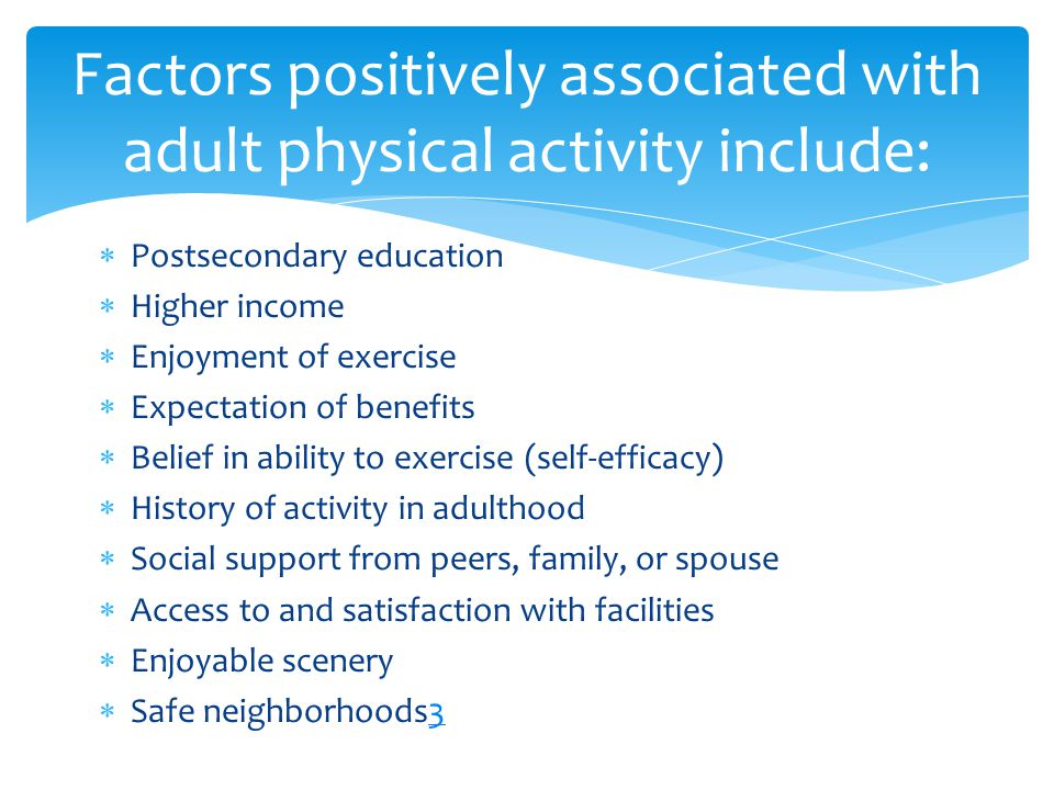  Postsecondary education  Higher income  Enjoyment of exercise  Expectation of benefits  Belief in ability to exercise (self-efficacy)  History of activity in adulthood  Social support from peers, family, or spouse  Access to and satisfaction with facilities  Enjoyable scenery  Safe neighborhoods33 Factors positively associated with adult physical activity include:
