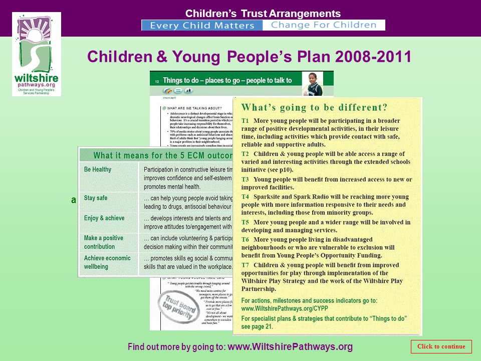 Children's Trust Arrangements Find out more by going to:   a sample page Children & Young People's Plan Click to continue