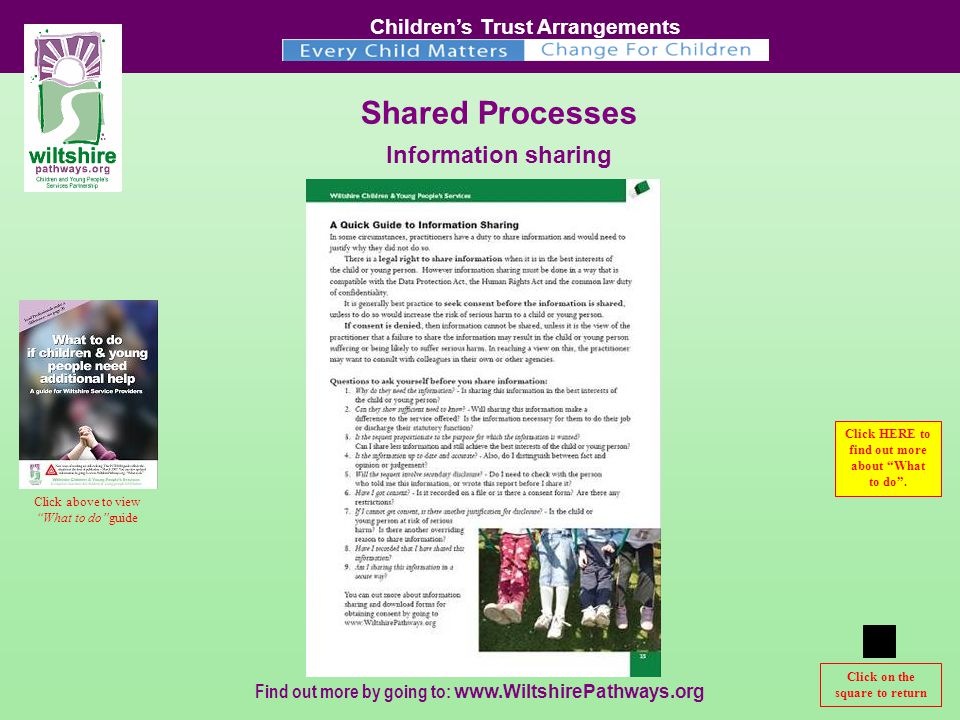 Children's Trust Arrangements Find out more by going to:   Shared Processes Information sharing Click to continue Click on the square to return Click above to view What to do guide Click HERE to find out more about What to do .