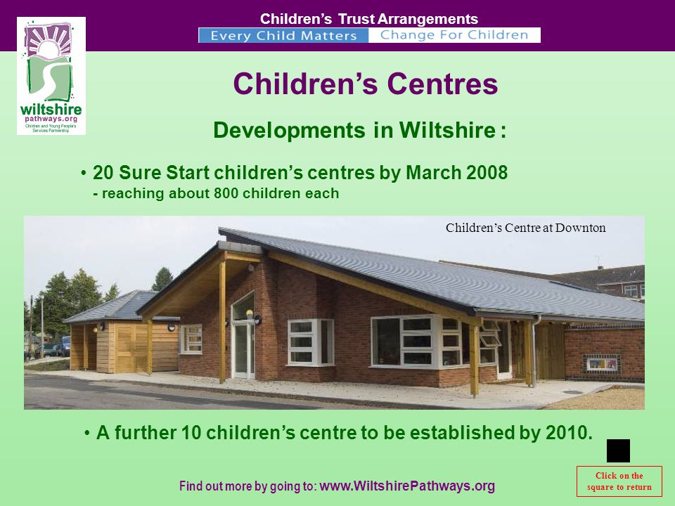 Children's Trust Arrangements Find out more by going to:   Click to continue Click on the square to return Children's Centres 20 Sure Start children's centres by March reaching about 800 children each Developments in Wiltshire : A further 10 children's centre to be established by 2010.