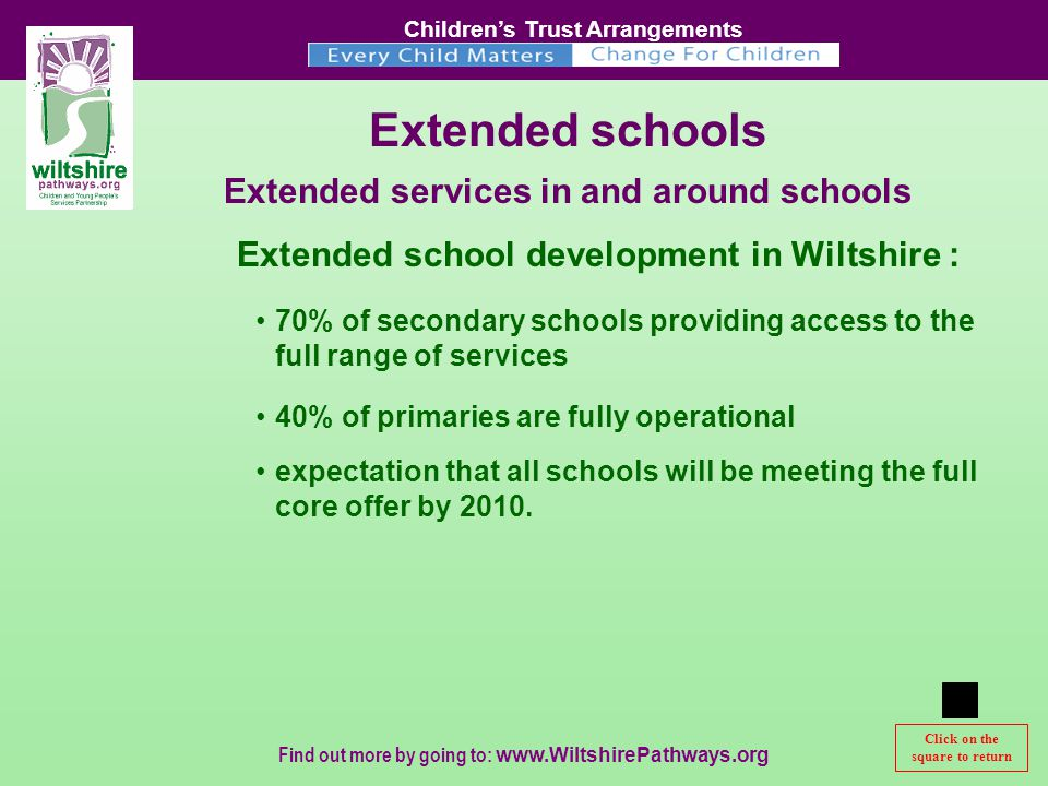 Children's Trust Arrangements Find out more by going to:   Extended schools Extended services in and around schools 70% of secondary schools providing access to the full range of services 40% of primaries are fully operational expectation that all schools will be meeting the full core offer by 2010.