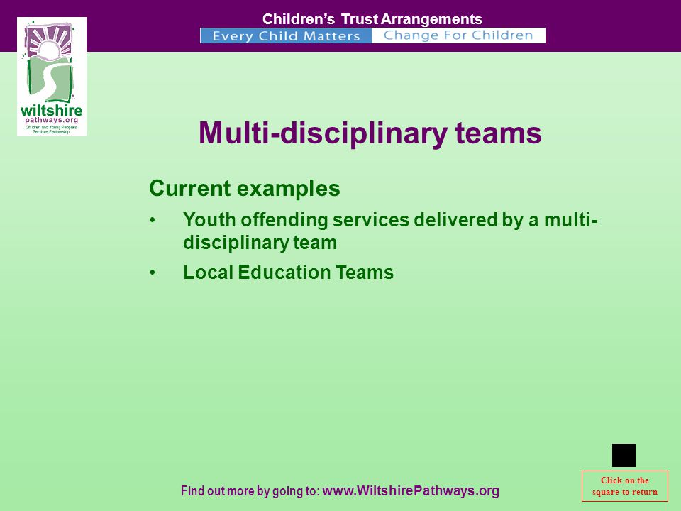 Children's Trust Arrangements Find out more by going to:   Multi-disciplinary teams Current examples Youth offending services delivered by a multi- disciplinary team Local Education Teams Click on the square to return