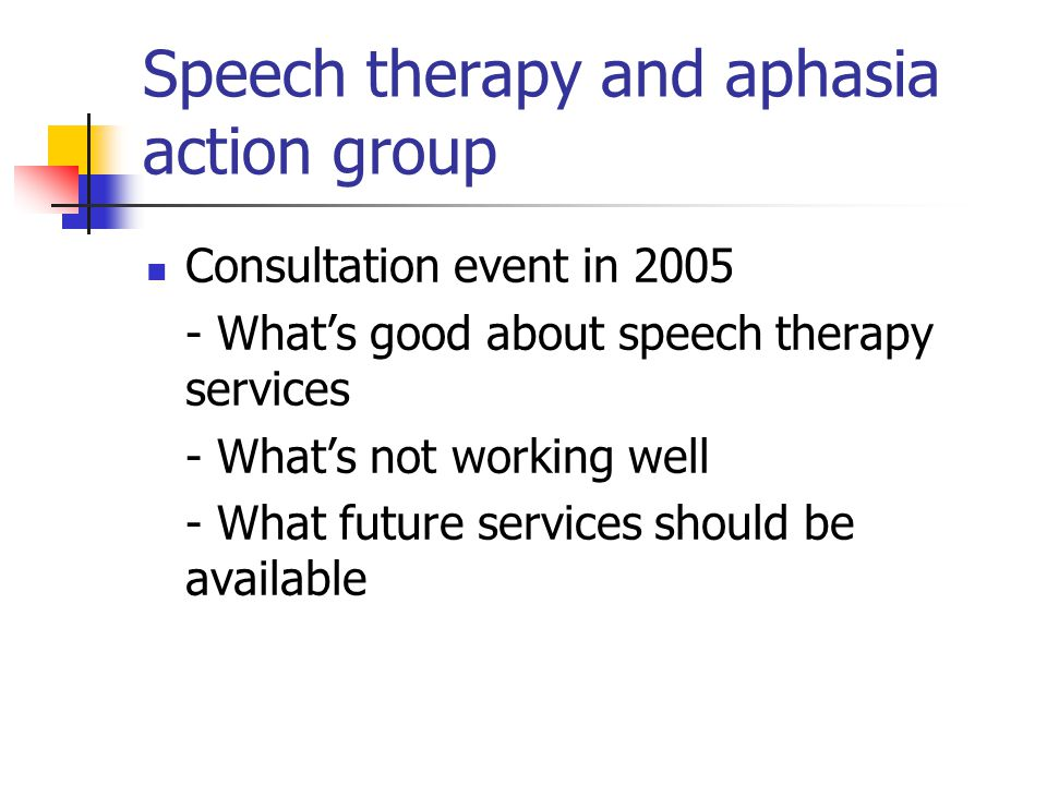 Speech therapy and aphasia action group Consultation event in 2005 - What's good about speech therapy services - What's not working well - What future services should be available