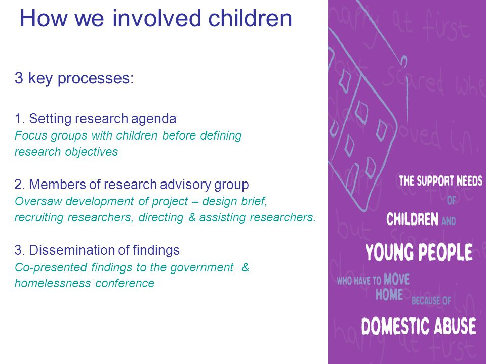Set the research agenda Focus groups with children & young people to see what they thought was most important: Older group –Bullying –Settling into a new area –Difficulties with family relationships – mums, dads, siblings –Having to start at a new school