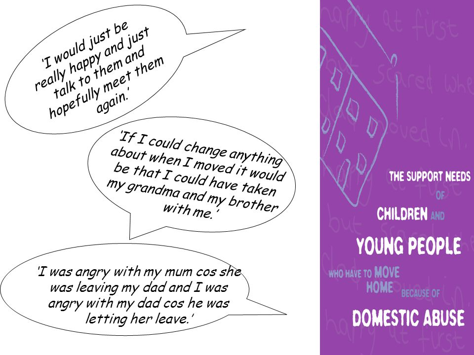 'Erm, the thing that helped me most when I left was (someone) taking me out and like helping with support and advice…Just like erm, taking me out for the day so I didn't have to think about it (having to leave home).
