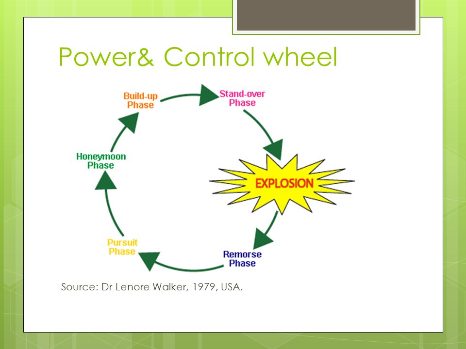 Power& Control wheel Source: Dr Lenore Walker, 1979, USA.