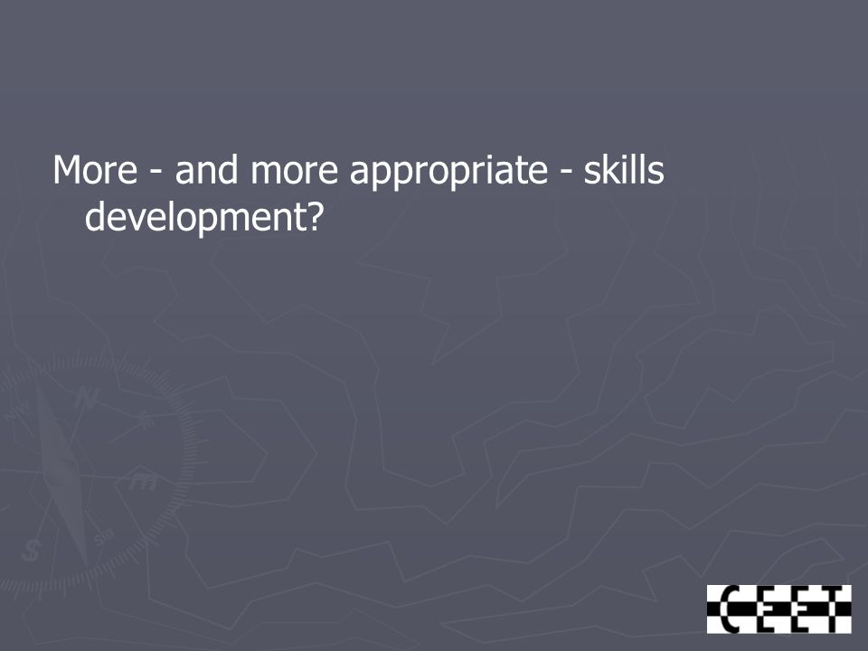 More - and more appropriate - skills development?