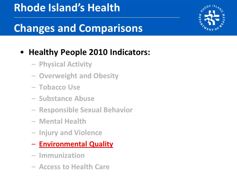 Healthy People 2010 Indicators: –Physical Activity –Overweight and Obesity –Tobacco Use –Substance Abuse –Responsible Sexual Behavior –Mental Health –Injury and Violence –Environmental Quality –Immunization –Access to Health Care Rhode Island's Health Changes and Comparisons