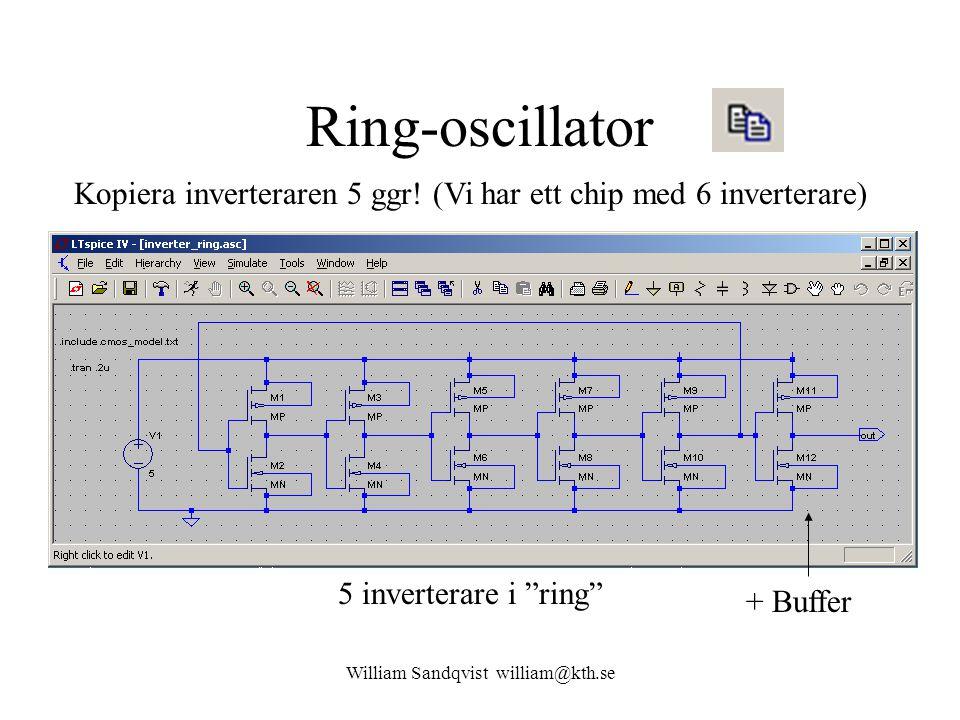 """Ring-oscillator Kopiera inverteraren 5 ggr! (Vi har ett chip med 6 inverterare) + Buffer 5 inverterare i """"ring"""" William Sandqvist william@kth.se"""
