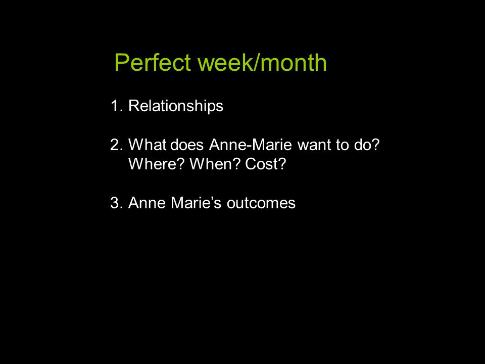 1.Relationships 2.What does Anne-Marie want to do.
