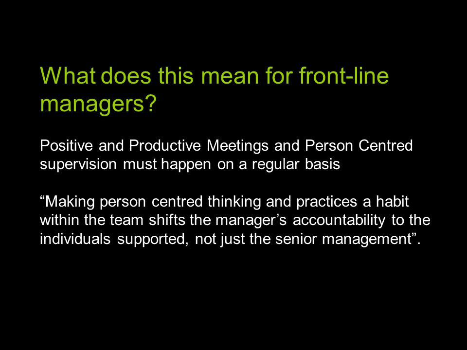 What does this mean for front-line managers.