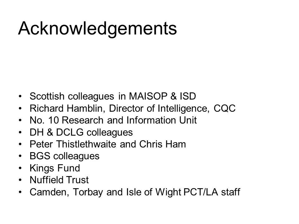 Acknowledgements Scottish colleagues in MAISOP & ISD Richard Hamblin, Director of Intelligence, CQC No.